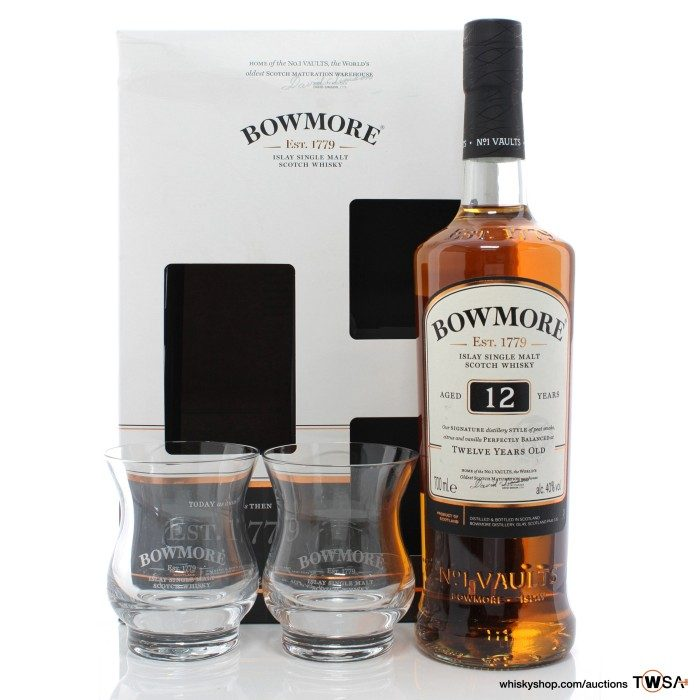 Bowmore 12 Year Old & Glasses Gift Set