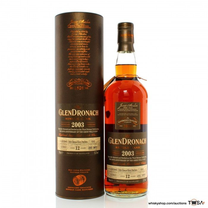 GlenDronach 2003 12 Year Old Single Cask #4102 The Green Welly Stop 50th Anniversary