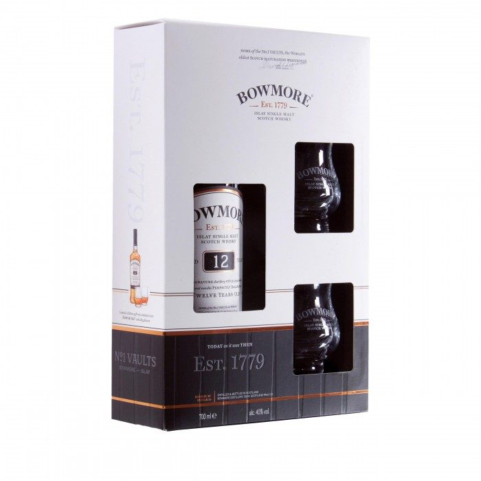 Bowmore 12 Year Old & 2 Glasses Gift Pack