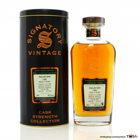 Dallas Dhu 1980 31 Year Old Single Cask #2106 Signatory Vintage Cask Strength Collection
